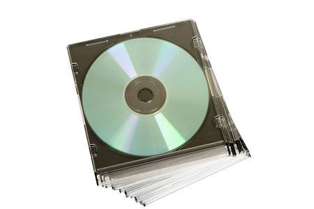 cd dvd piled up on white background photo