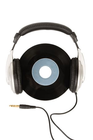 front view of dj headphones and vintage vinyl photo