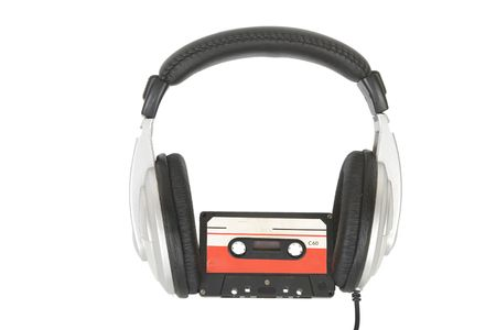 front view of dj headphones and audio cassette Stock Photo - 7232609