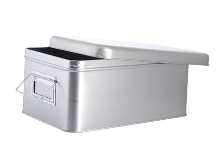 open silver steel box on white background Stock Photo - 7232607