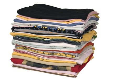 stack of colored t-shirts, front view, ironed and packed photo