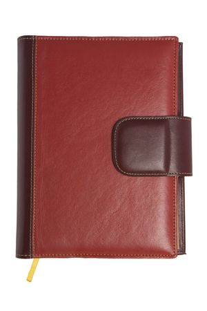 Blank red soft leather covered book isolated on white background photo