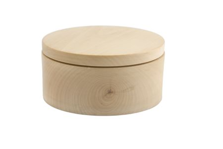 wooden lid: front view of wooden round box on white background Stock Photo