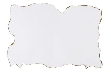 blank paper with burnt edges on white background photo