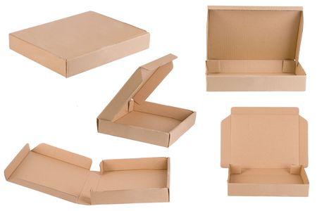 boite carton: Pizza bo�te pousses de diff�rents points de vue  Banque d'images