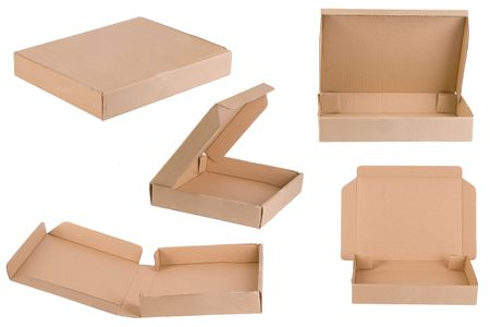 caja de pizza: Pizza cuadro de disparar desde diferentes puntos de vista  Foto de archivo