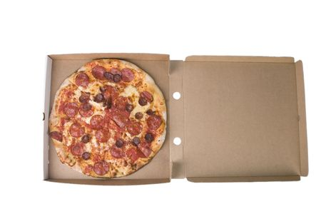 spicy pizza on cardboard box with white background photo