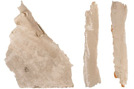 Piece of brown paper, torn on white background Stock Photo - 7398292