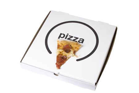 spicy pizza on cardboard box on white background photo
