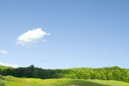 countryside green hill and blue sky with cloud Stock Photo - 7398307