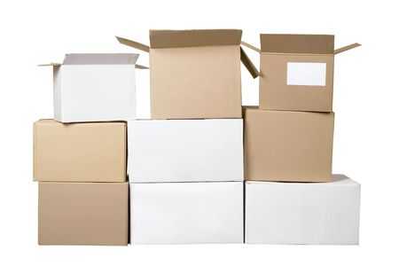 stockpiling: Isolated brown and white different cardboard boxes arranged in stack