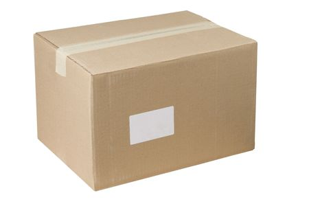 isolated closed shipping cardboard box whit white empty label Stock Photo - 7450931