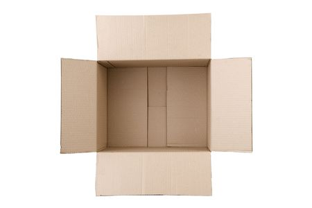 open corrugated cardboard box on white background Stock Photo - 7450926