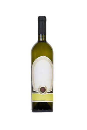 isolated green bottle for wine with blank tag photo
