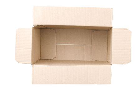 open corrugated cardboard box on white background Stock Photo - 7450927