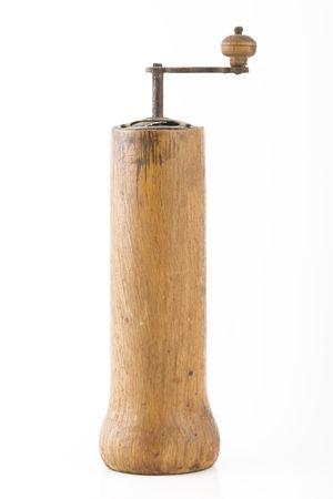 vintage brown grinder, wooden made, on white background photo