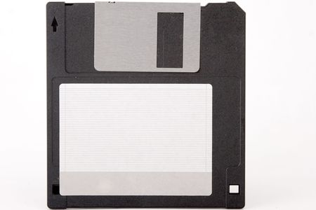 front view of obsolete floppy disk on white background Stock Photo - 7543466