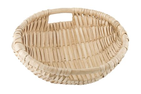 hand made wicker basket on white background photo
