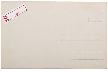 Old empty postcard, grunge paper with aging marks Stock Photo - 7543413