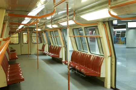 underground subway, inside view with opened doors photo