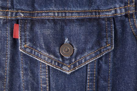 denim texture: front view of a blue jeans pocket