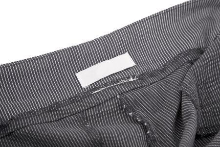 close-up of striped fabric and blank tag photo