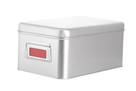 silver steel box with red blank label on white background Stock Photo - 7670660