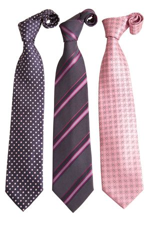 front view of three ties on white background photo