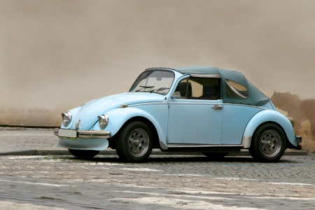 antik: famous beetle in front of a wall Editorial