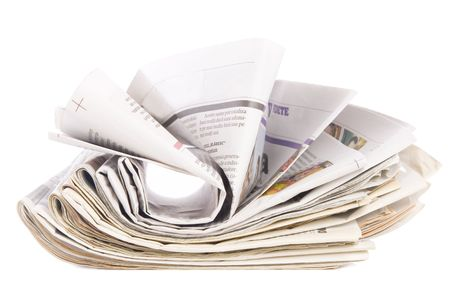 newspaper stack on white background, information concept Stock Photo - 7670766