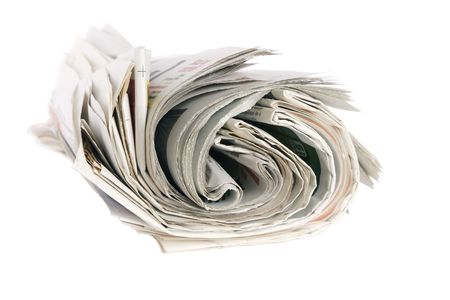 Roll of newspapers, isolated on white background Stock Photo - 7670739