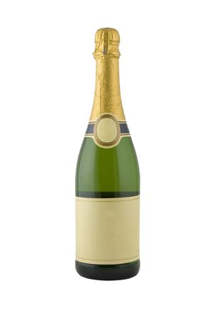gold capped: front view of green bottle of champagne