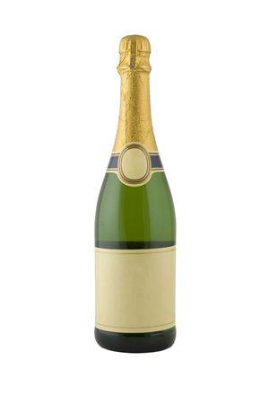 botella champagne: Vista frontal de verde botella de champagne