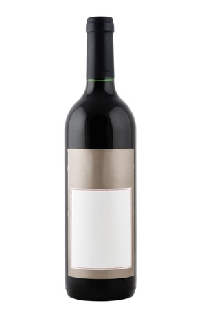 full red wine bottle with blank label Stock Photo