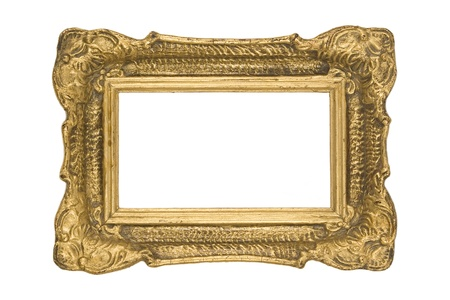 vintage and classic golden frame on white background photo