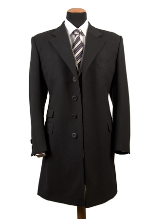 front view of elegant black suit, business fashion