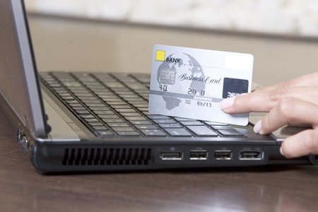 hands holding credit card, online shopping concept Stock Photo - 8288577