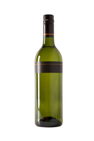 white wine in green bottle with blank label photo