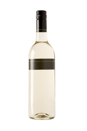 full white wine bottle with blank label photo