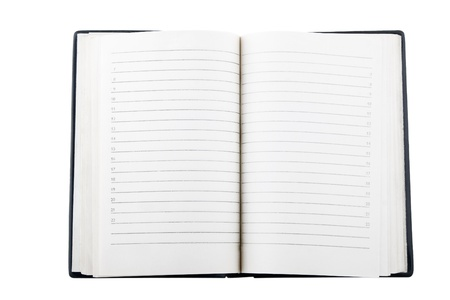 front view of open notebook on white background photo