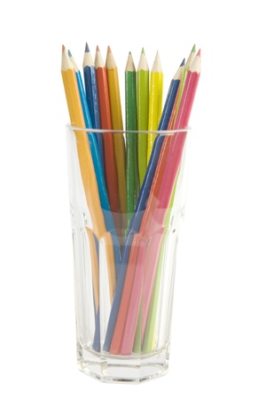 Colored pencils in glass, isolated on the white background. Stock Photo - 8341400