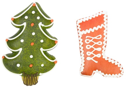 christmas tree and red boot from gingerbread,  x-mas cookies Stock Photo - 8392035