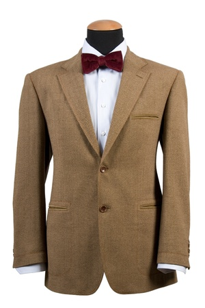 front view of elegant brown suit, business fashion