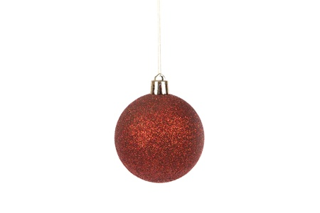 front view of red christmas ball isolated on white photo