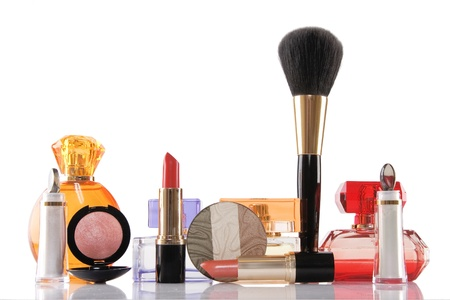 perfume and cosmetics on white background, beauty concept Stock Photo