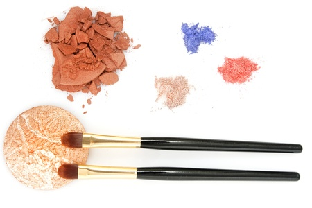 red, blue, brown powder for makeup and two brush photo