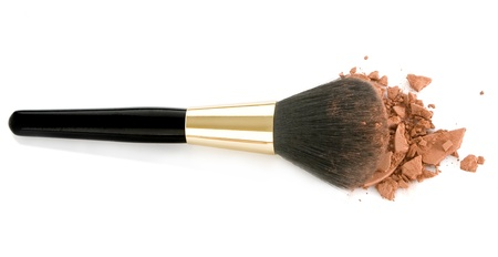 make up woman: Make-up brush and brown powder isolated on white background