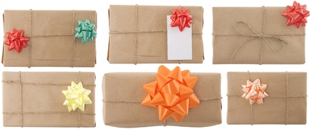 gift box with ribbon and blank label on white background Stock Photo - 9463563