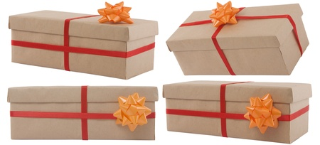 gift box with red ribbon on white background Stock Photo - 9463565