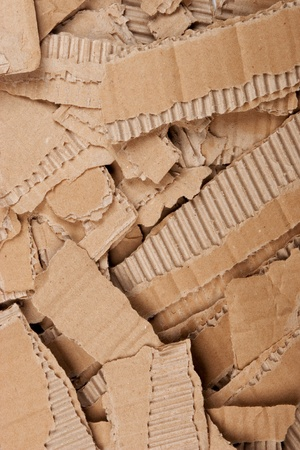 front view of corrugated cardboard torn pile photo